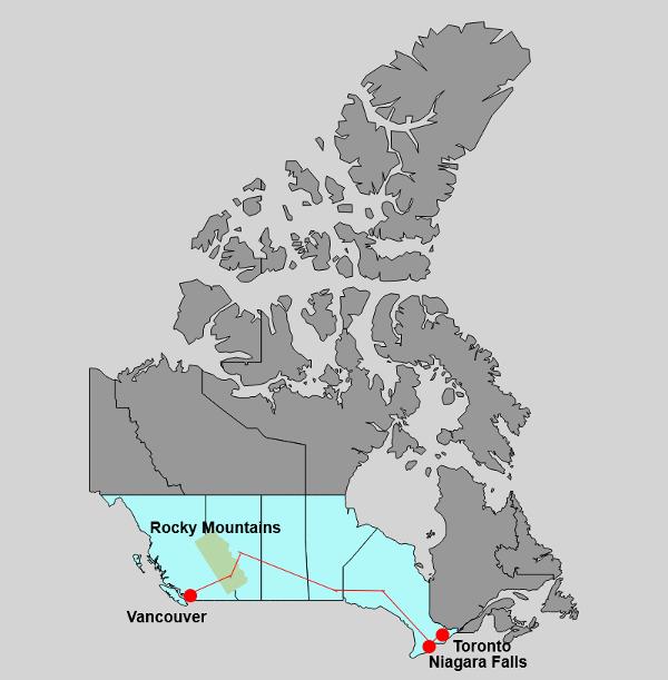 Karte für den Kanada-Roadtrip