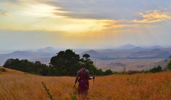 In einer afrikanischen Landschaft geht ein Stammesbewohner durch die Felder